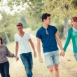 Group of Teenagers Walking Holding Hands — Stock Photo