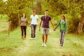 Groupe d'adolescents marche tenue mains — Photo