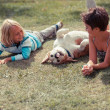 Two Children Playing with the Dog — Photo