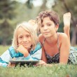 Couple of Children with Tablet PC — Stock Photo