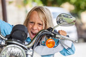Boy Driving a Motorbike — Stock Photo