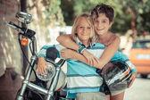 Couple of Children with Motorbike — Stock Photo