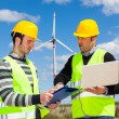Two Engineers in a Wind Turbine Power Station — Stock Photo