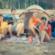 Royalty-Free Stock Photo: Group of Camping and Singing