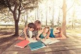 группа подростков студентов в парке — Стоковое фото