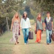 Hippie Group Walking on a Countryside Road — Stock Photo #12702044