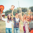 Hippie Group Playing Music and Dancing Outside — Stock Photo #12702054