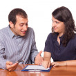 Financial Consultant and Client Signing — Stock Photo