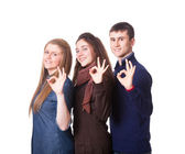Teenage Students Making Ok Sign — Stock Photo