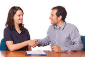 Man and Woman Handshake, Business Theme — Stock Photo