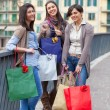 Three Beautiful Young Women with Shopping Bags - Foto Stock