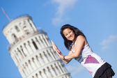 Chinese Girl with Leaning Tower of Pisa — Stock Photo