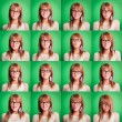 Beautiful Young Woman Collection of Expressions on Green — Stock Photo #12844864