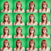 Beautiful Young Woman Collection of Expressions on Green — 图库照片