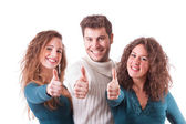 Three Happy Friends with Thumbs Up — Stockfoto