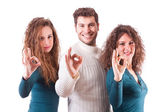 Three Happy Friends Showing Ok Sign — Stockfoto