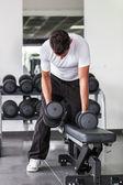 Man Lifting Weights at Gym — Stock Photo