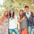 Hippie Group Outside — Stock Photo
