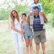 Happy Three Generations Family Outdoor — Stock Photo