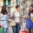 Three Beautiful Young Women with Shopping Bags — Stock Photo #13356850