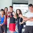 Group of at Gym with Instructor - Stock Photo