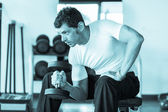 Man Lifting Weights at Gym — Stock Photo