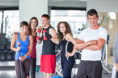 Group of at Gym with Instructor — Stock Photo