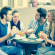 Group of Friends Having a Traditional Italian Breakfast — Stock Photo #13657661