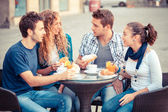 Group of Friends Having a Traditional Italian Breakfast — Stock Photo