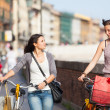 Two Beautiful Women Walking in the City with Bicycles and Bags - Stockfoto