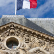 French Flag on an Ancient Building - Stock Photo