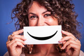 Young Woman with Smiley Emoticon — Stock Photo