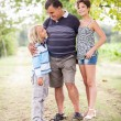 Grandfather with Grandson and GRanddaughter — Stock Photo