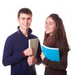 Couple of Teenage Students on White — Stock Photo
