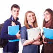 Happy Teenage Students on White — Stock Photo