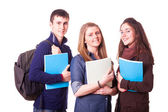 Szczęśliwy nastoletnimi studentami na biały — Zdjęcie stockowe