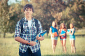Young Boy Student with Friends at Park — Foto Stock
