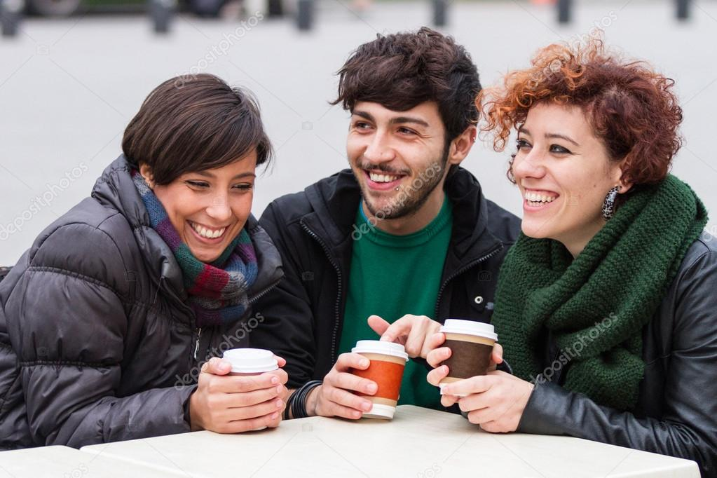 Group of Friends with Hot Drink on Winter — Stock Photo #14851967