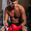 Boxer in the Locker Room - Foto Stock