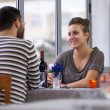 Romantic Young Couple at Restaurant — Stock Photo #14943723