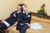 Two Tired Chamber Maids at Work — Stock Photo