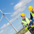 Two Engineers in a Wind Turbine Power Station — Stock Photo #15597561