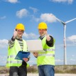 Technician Engineers Thumbs Up with Wind Power Generator — Stock Photo