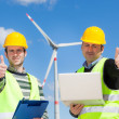 Technician Engineers Thumbs Up with Wind Power Generator — Zdjęcie stockowe