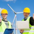 Technician Engineers Thumbs Up with Wind Power Generator — Foto de Stock