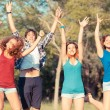 Group of Teenagers Jumping at Park — Stock Photo