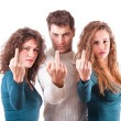Three Friends Showing Middle Finger — Stock Photo #15617049