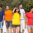 Group of Friends Walking Outside — Stock Photo
