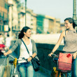 Two Beautiful Women Walking in the City with Bicycles and Bags - Стоковая фотография