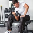 Man Lifting Weights at Gym - 图库照片